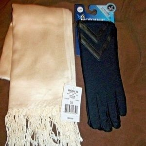 "NEW scarf 74"" long and Isotoner gloves"